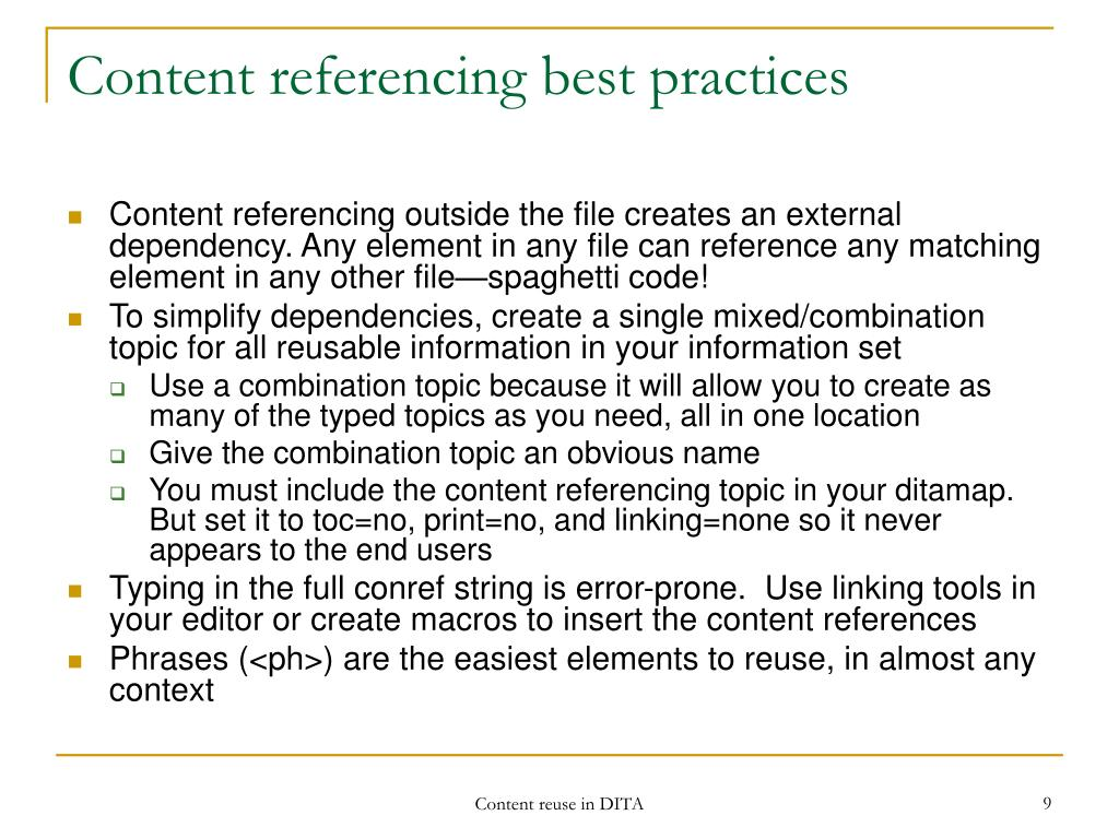 Content referencing best practices