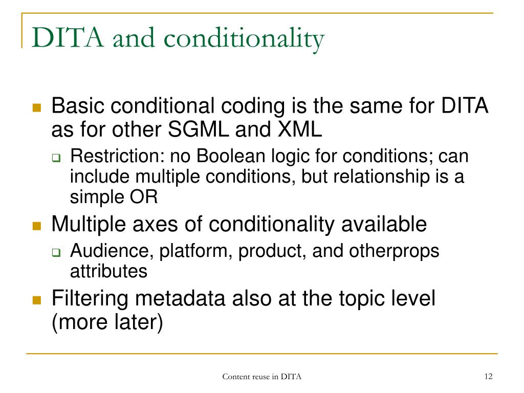 DITA and conditionality