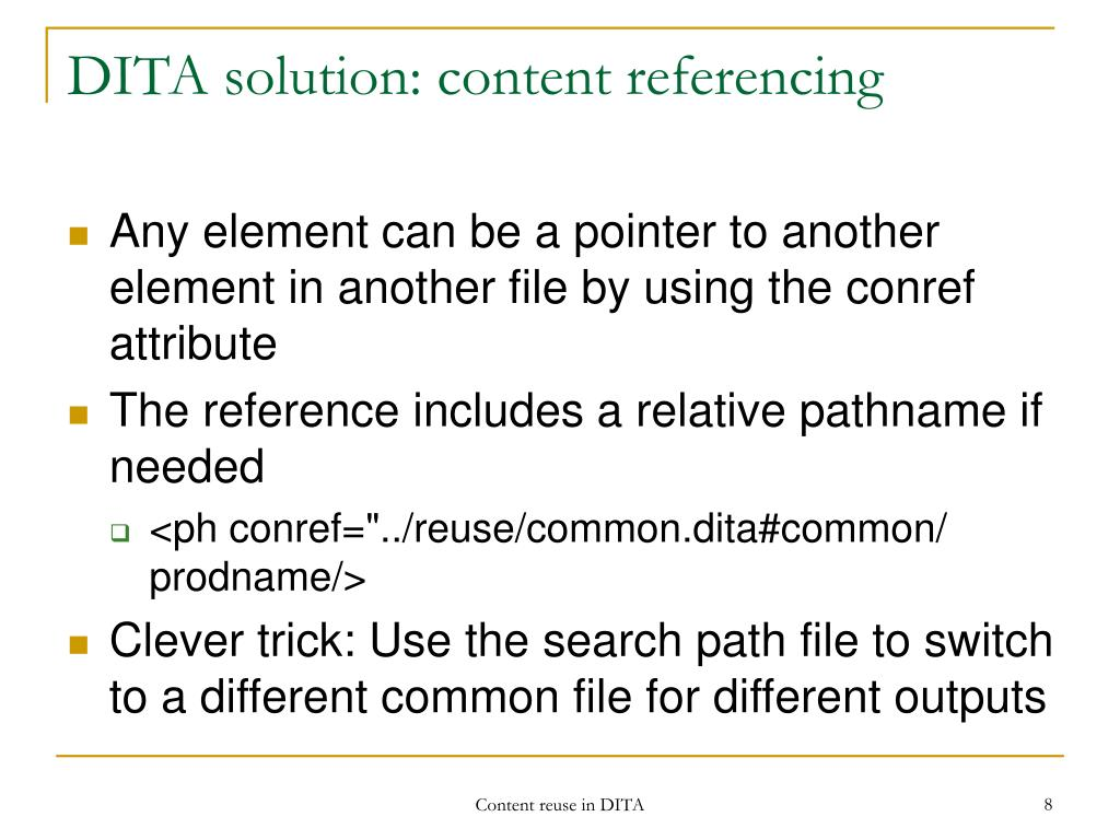 DITA solution: content referencing