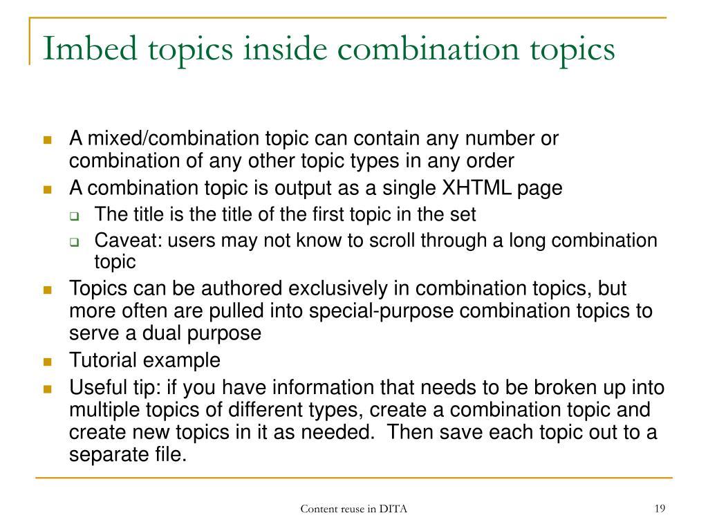 Imbed topics inside combination topics