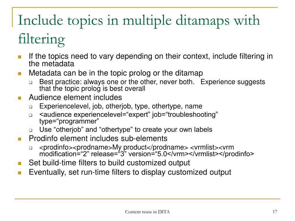 Include topics in multiple ditamaps with filtering