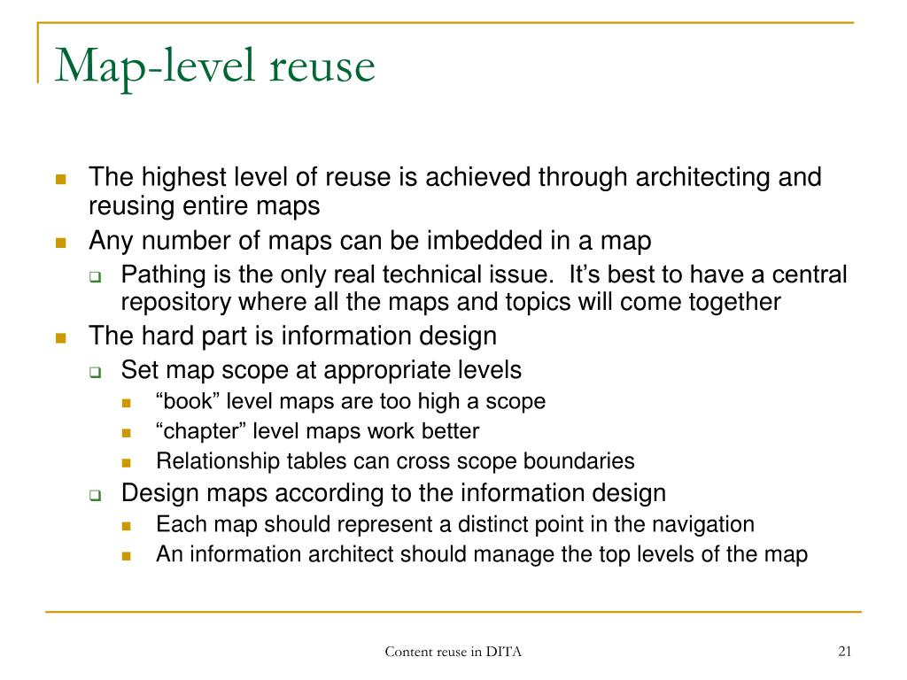 Map-level reuse