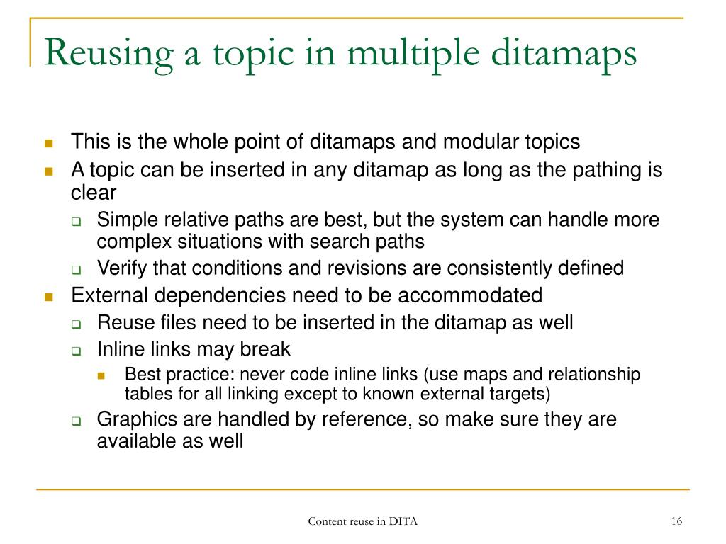 Reusing a topic in multiple ditamaps