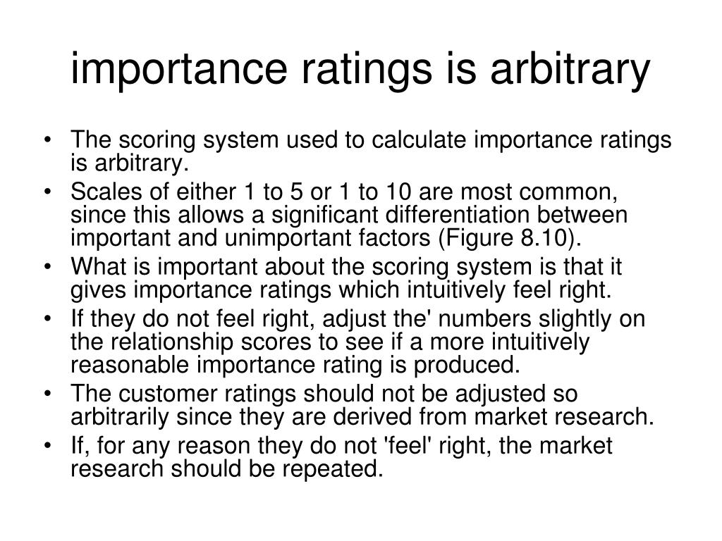 importance ratings is arbitrary