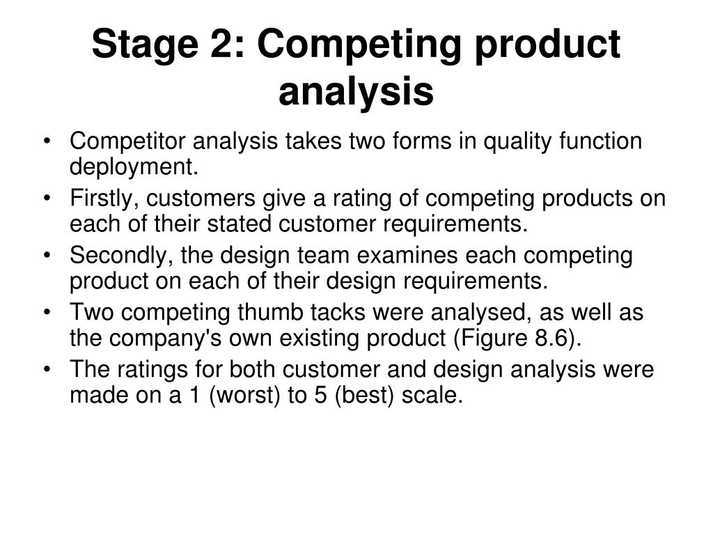 Stage 2: Competing product analysis