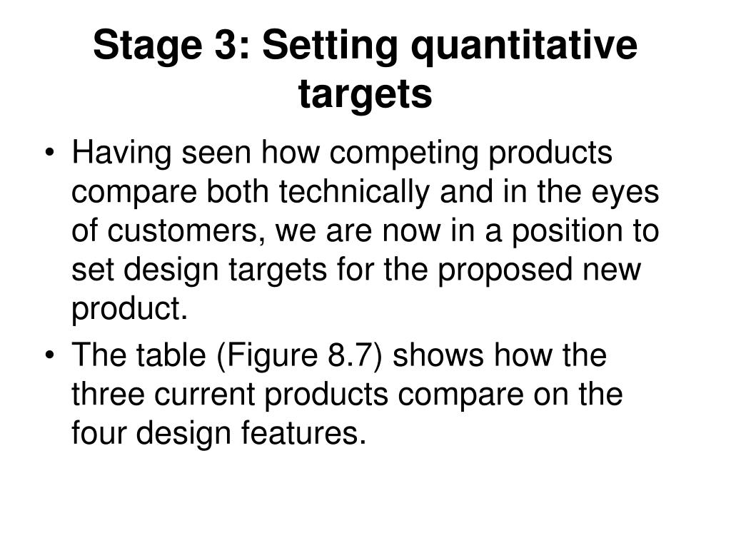 Stage 3: Setting quantitative targets