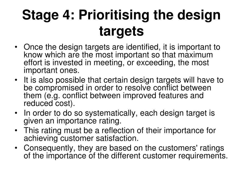 Stage 4: Prioritising the design targets