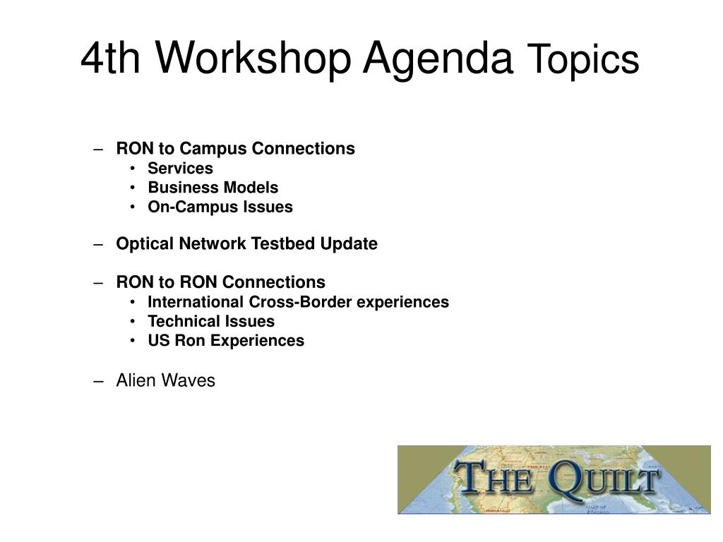 4th Workshop Agenda