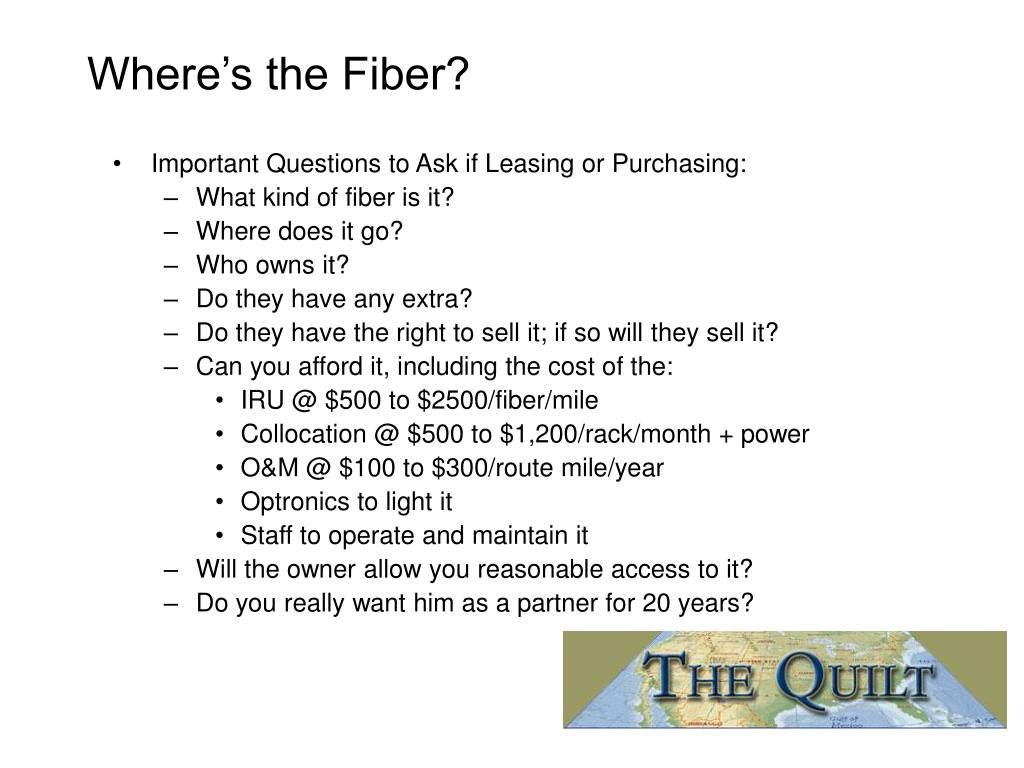 Where's the Fiber?