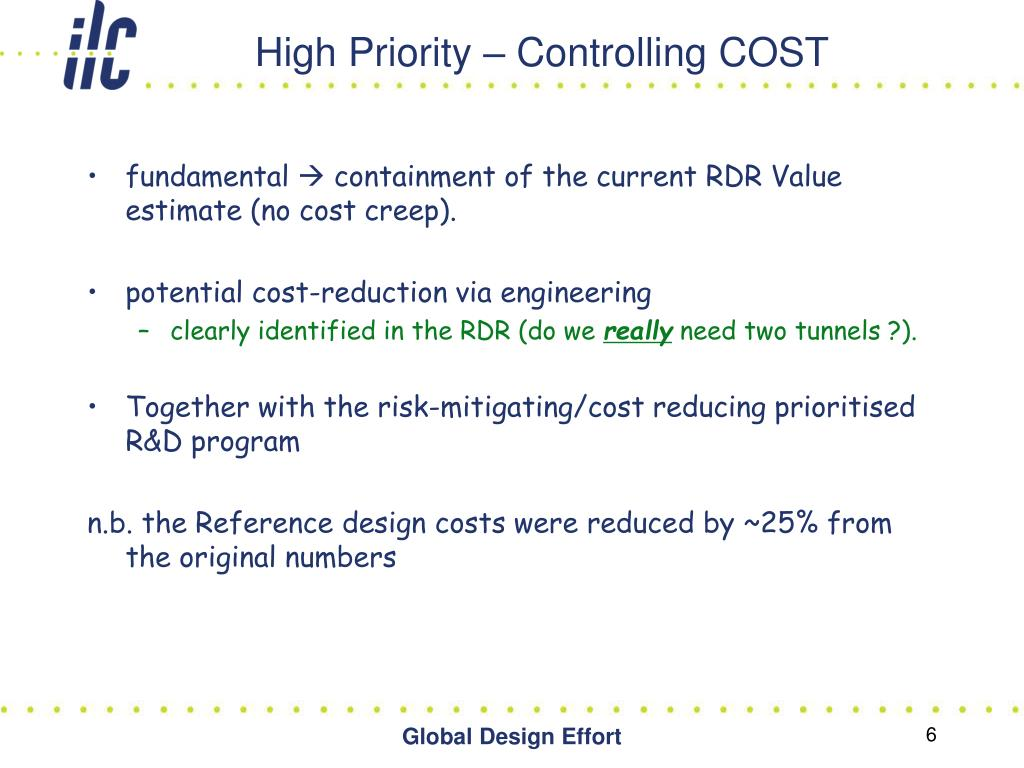 High Priority – Controlling COST