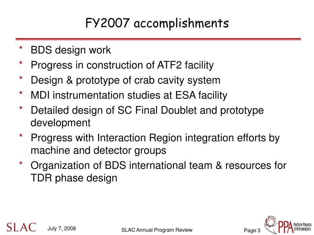 FY2007 accomplishments