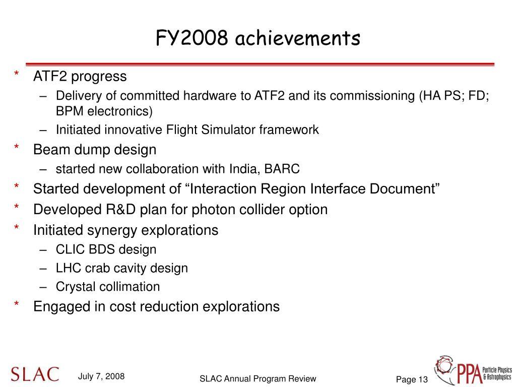 FY2008 achievements
