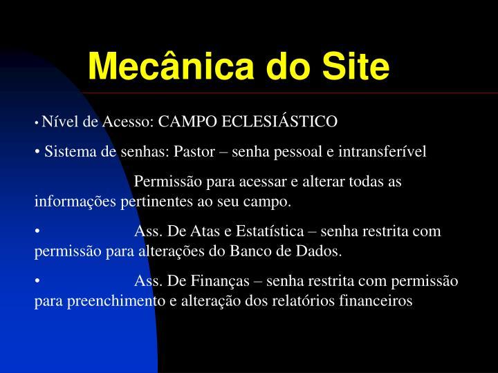 Mecânica do Site