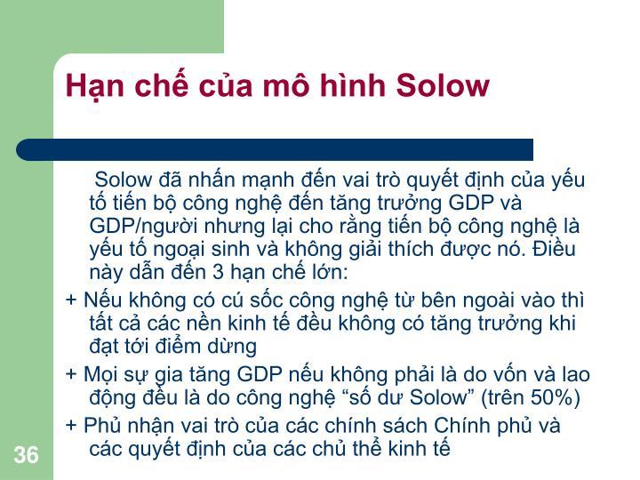 Hạn chế của mô hình Solow