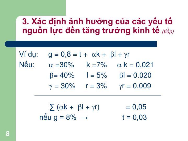 3. Xác định ảnh hưởng của các yếu tố nguồn lực đến tăng trưởng kinh tế