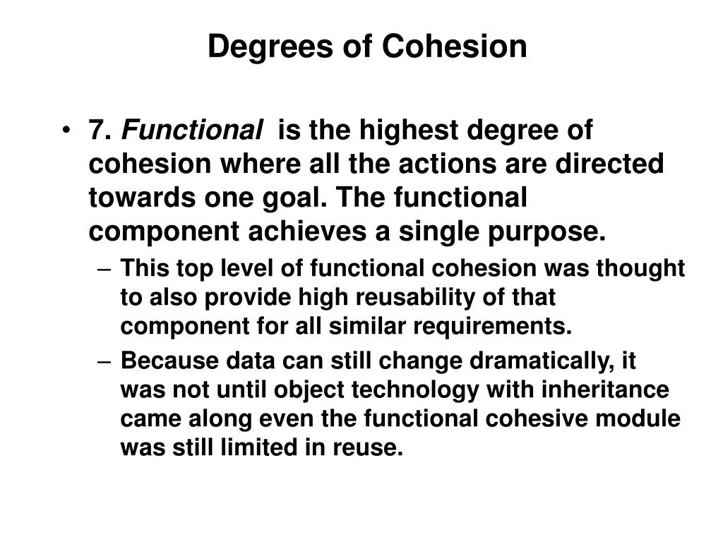 Degrees of Cohesion