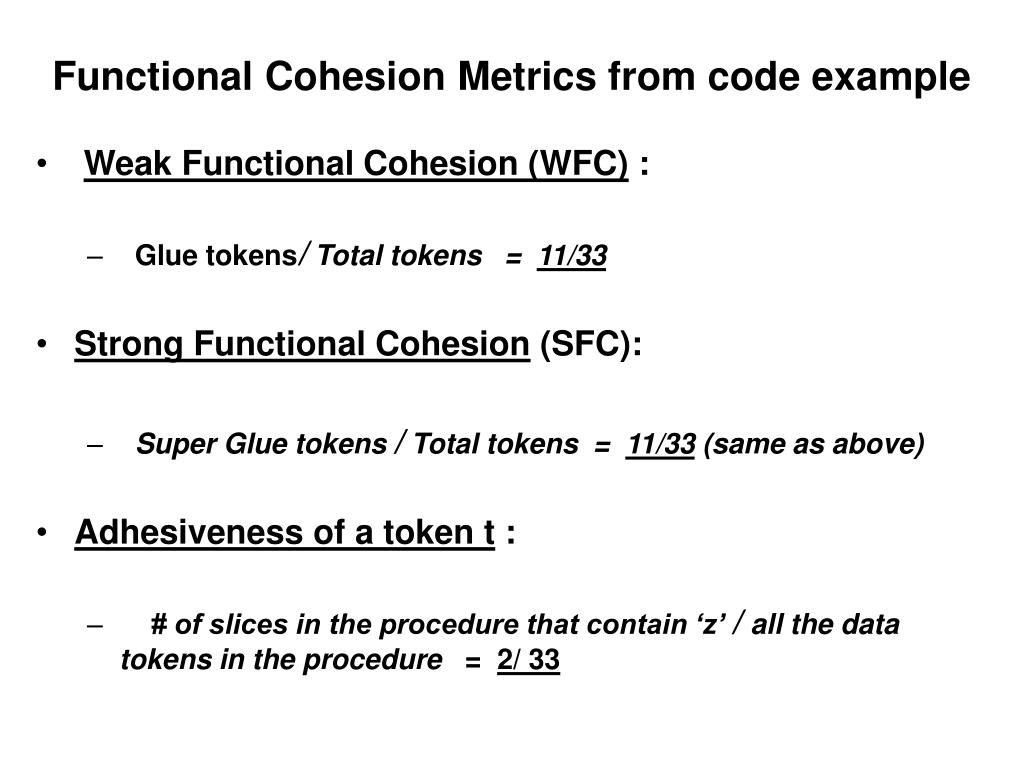 Functional Cohesion Metrics from code example