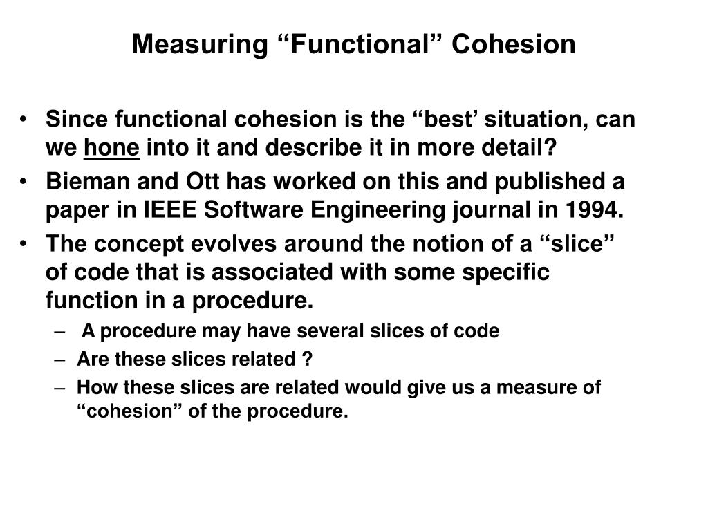 """Measuring """"Functional"""" Cohesion"""