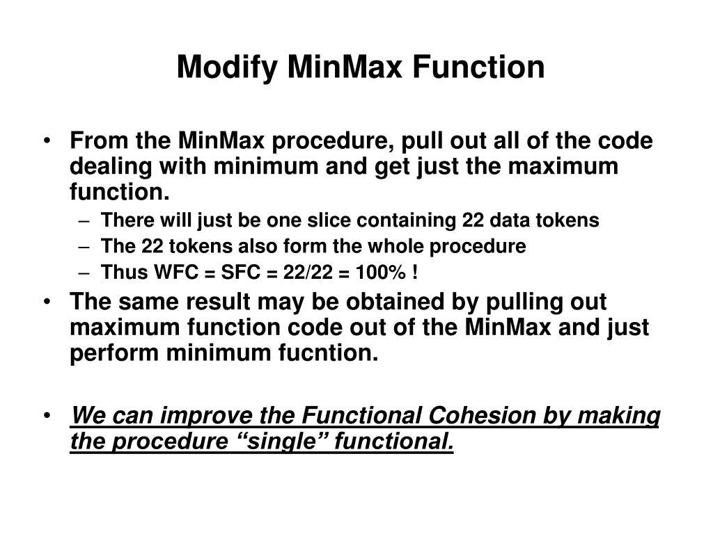 Modify MinMax Function