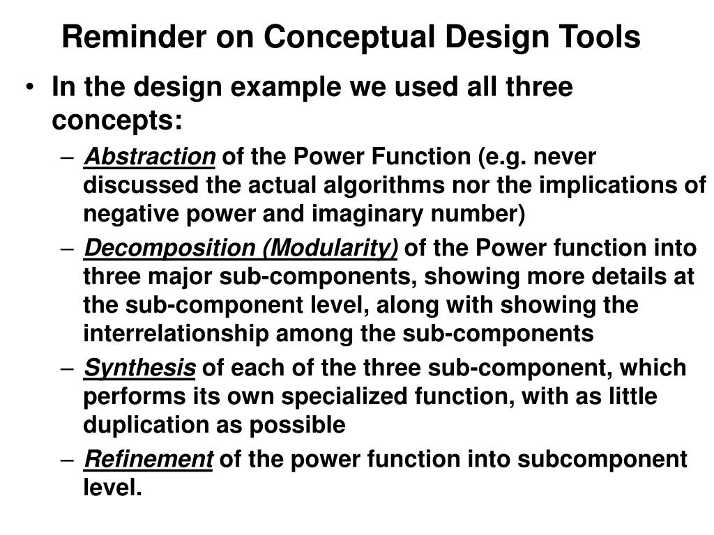 Reminder on Conceptual Design Tools
