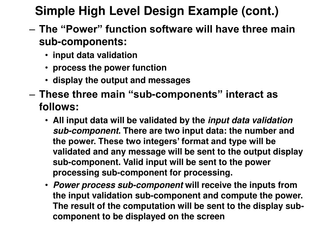 Simple High Level Design Example (cont.)