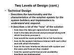 two levels of design cont