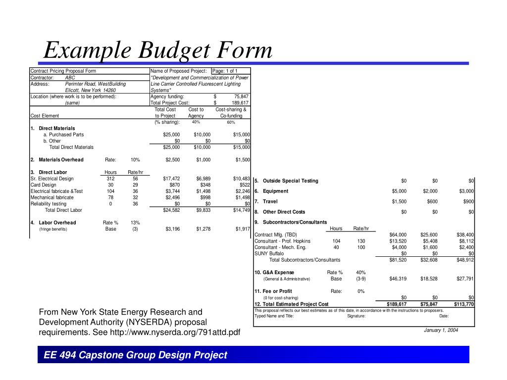 Example Budget Form