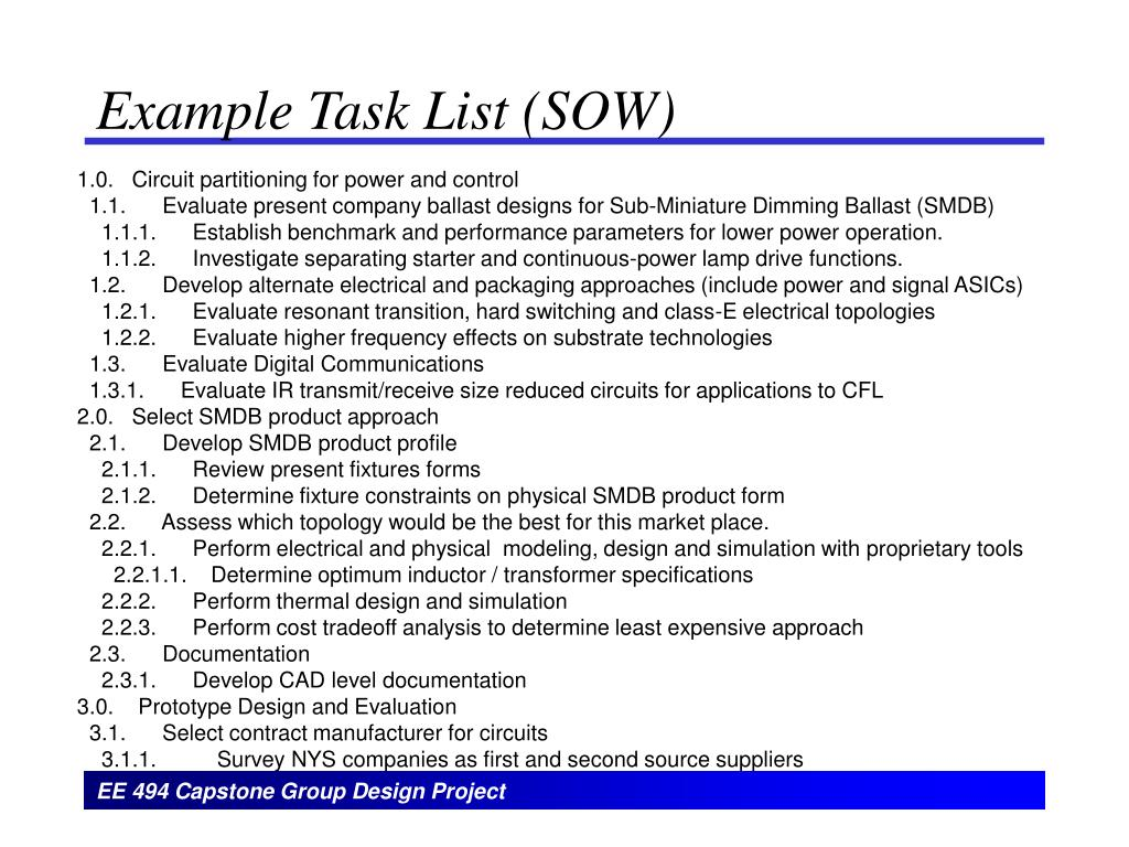Example Task List (SOW)