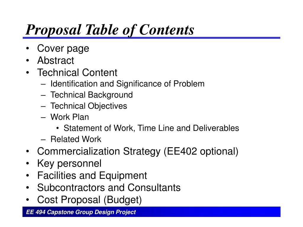 Proposal Table of Contents