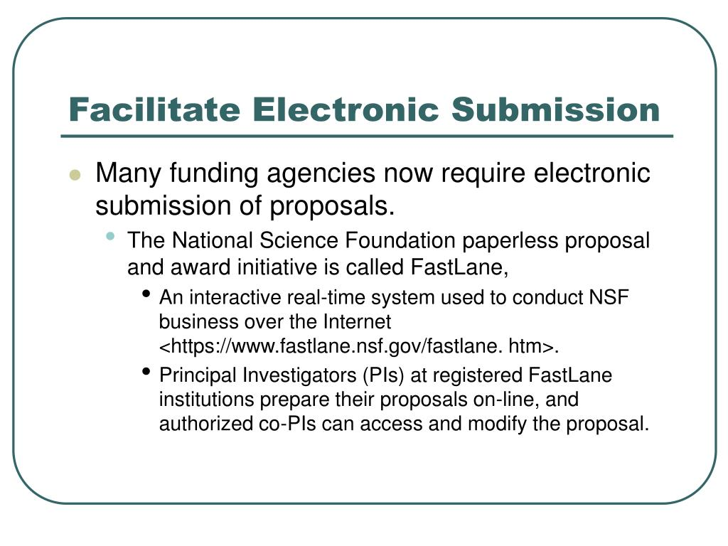 Facilitate Electronic Submission
