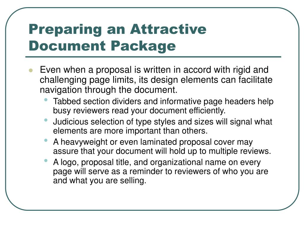 Preparing an Attractive Document Package