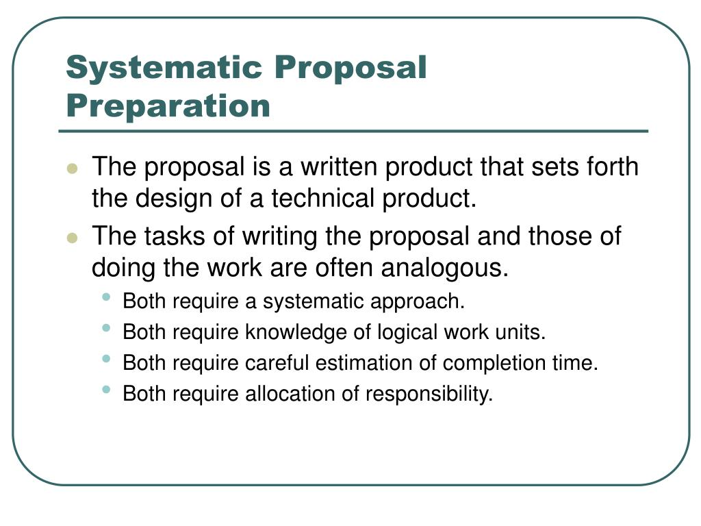 Systematic Proposal Preparation