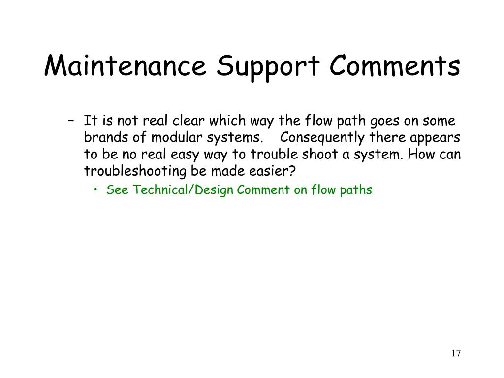 Maintenance Support Comments