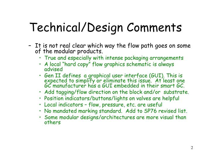 Technical design comments