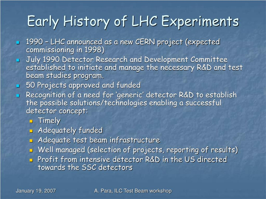 Early History of LHC Experiments