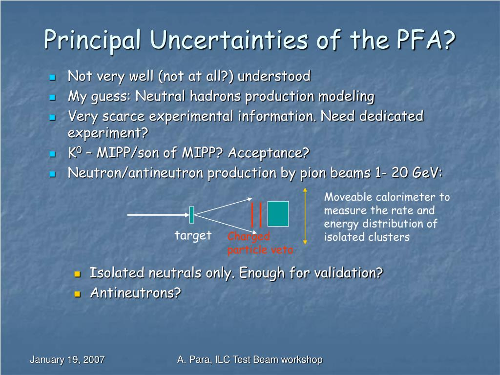 Principal Uncertainties of the PFA?