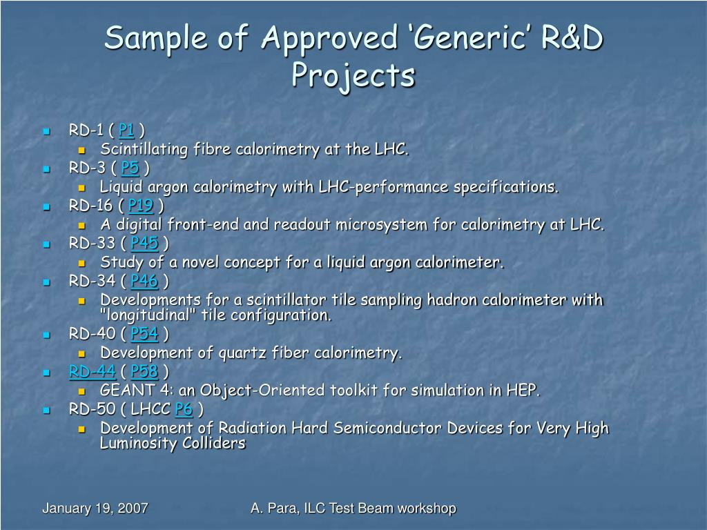 Sample of Approved 'Generic' R&D Projects