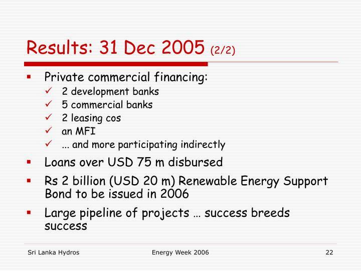 Results: 31 Dec 2005