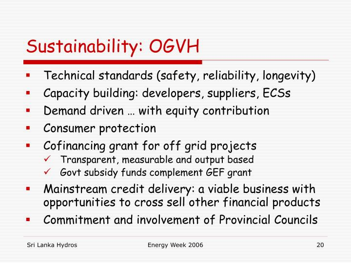 Sustainability: OGVH