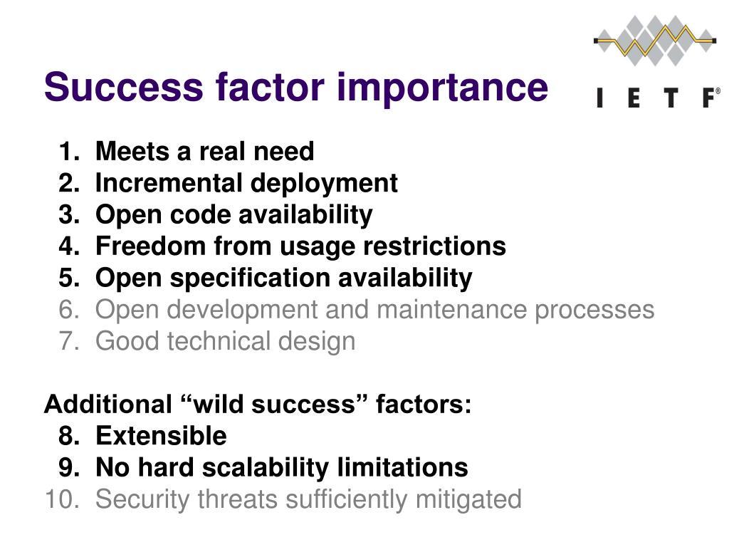 Success factor importance