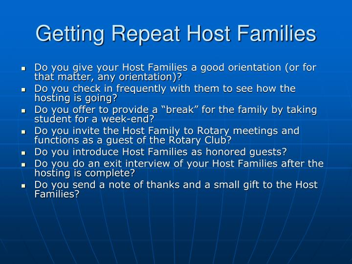 Getting Repeat Host Families