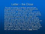 letter the close