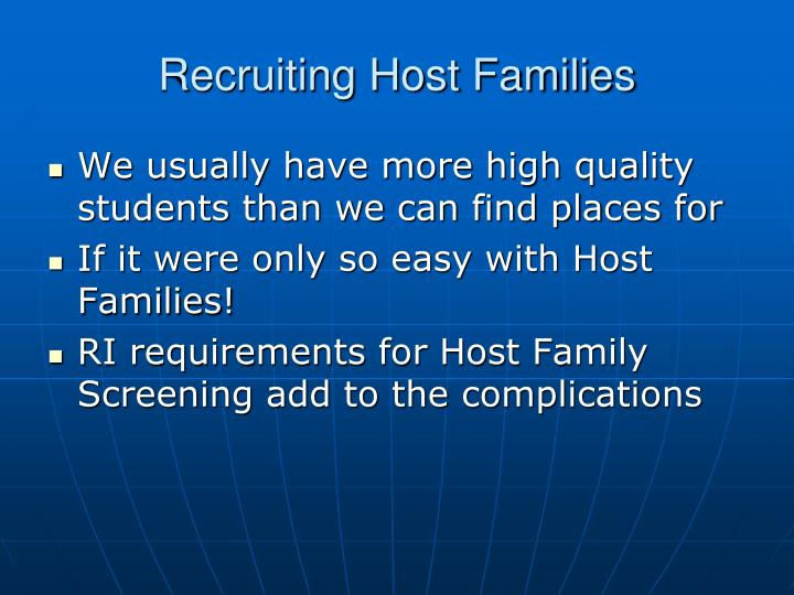 Recruiting host families