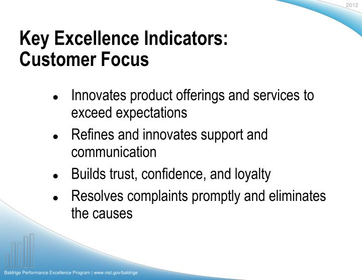 Key Excellence Indicators: Customer Focus