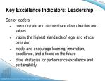 key excellence indicators leadership