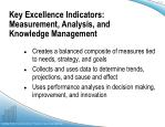 key excellence indicators measurement analysis and knowledge management