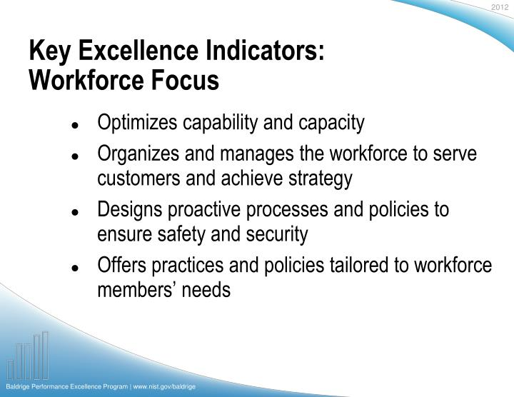Key Excellence Indicators: Workforce Focus