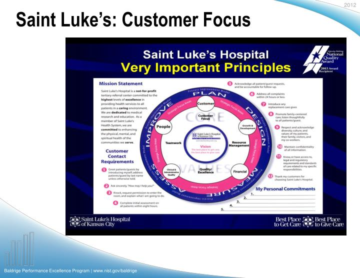 Saint Luke's: Customer Focus