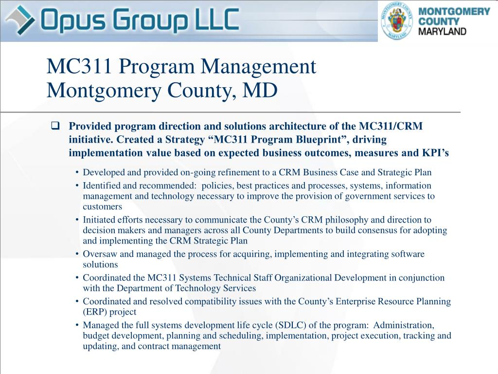 MC311 Program Management