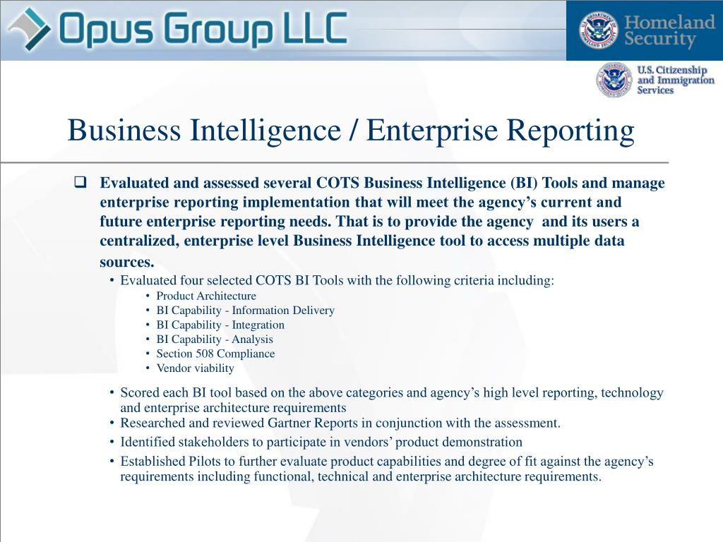Business Intelligence / Enterprise Reporting